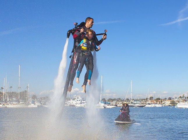 Tandem jet pack flight in Newport Beach